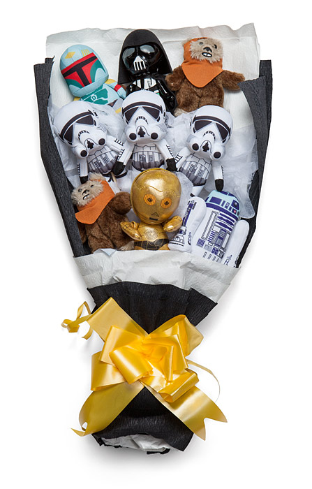 star wars or animal plush bouquets are the perfect geek valentine s