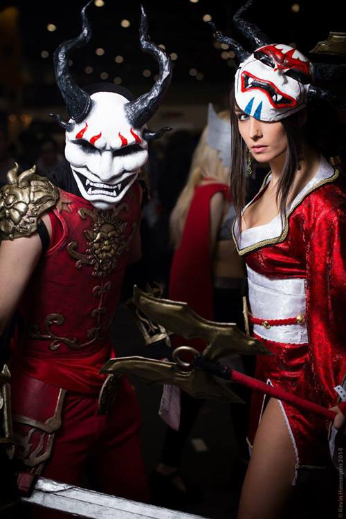 Blood Moon Shen & Akali from League of Legends Cosplay Bloodmoon Akali Costume