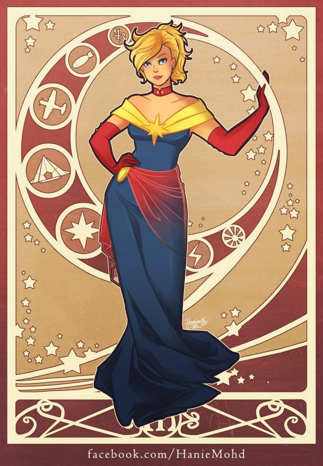 art nouveau female superheroes