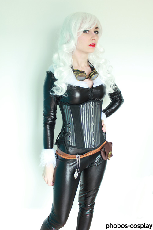steampunk black cat cosplay