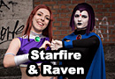 Starfire and Raven from Teen Titans Cosplay