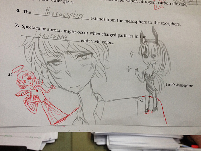 Teacher Finishes Students Doodles