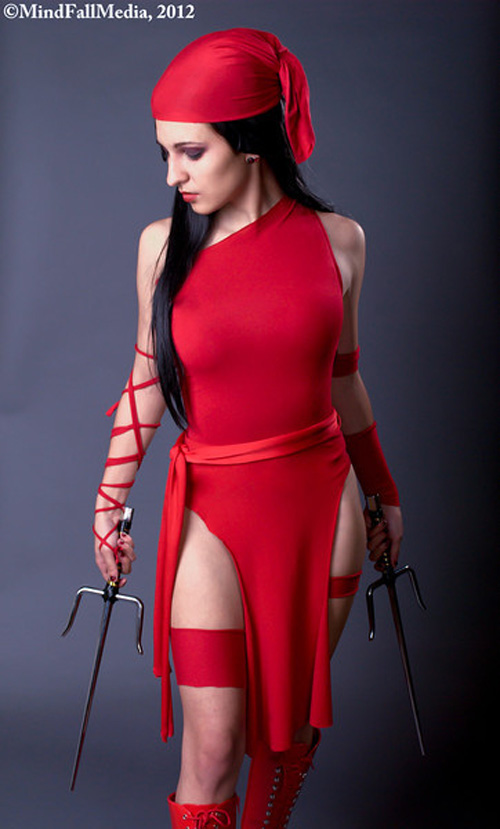 Elektra cosplayed Elektra Marvel Costume