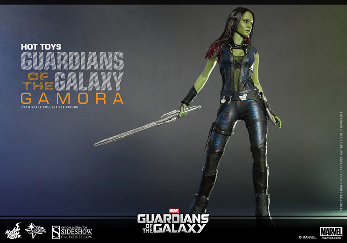 Gamora from Guardians of the Galaxy Sixth Scale Figure + Star-Lord, Rocket & Groot