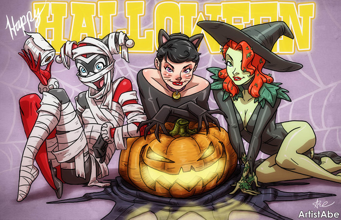 ... Harley Quinn, Poison Ivy and Catwoman having fun in their Halloween