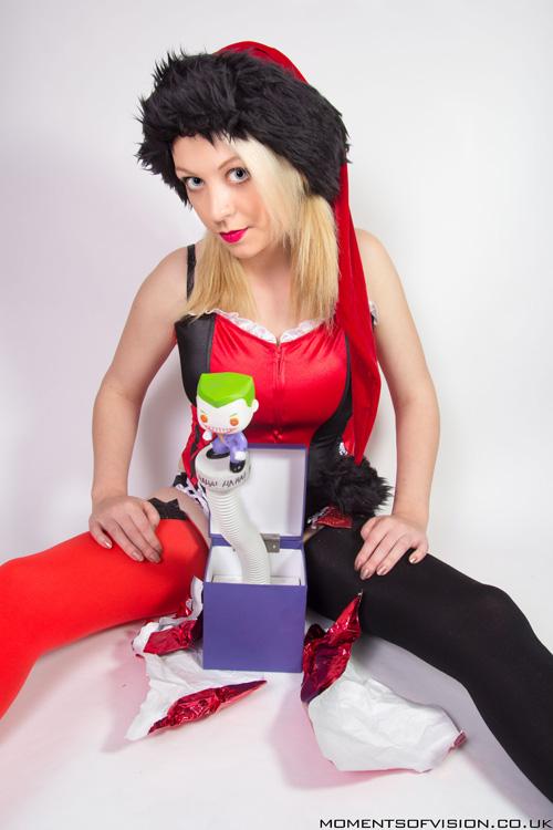 christmas harley quinn lingerie photoshoot