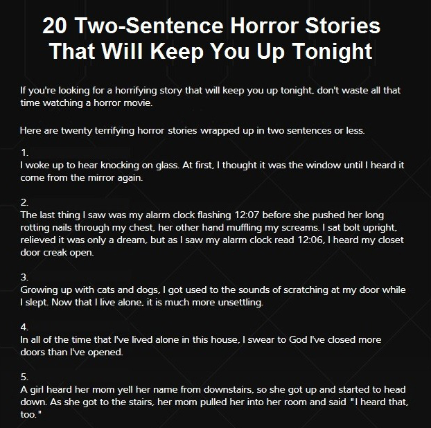 20 horror stories in 2 sentences or less - Ring the bell movie deland