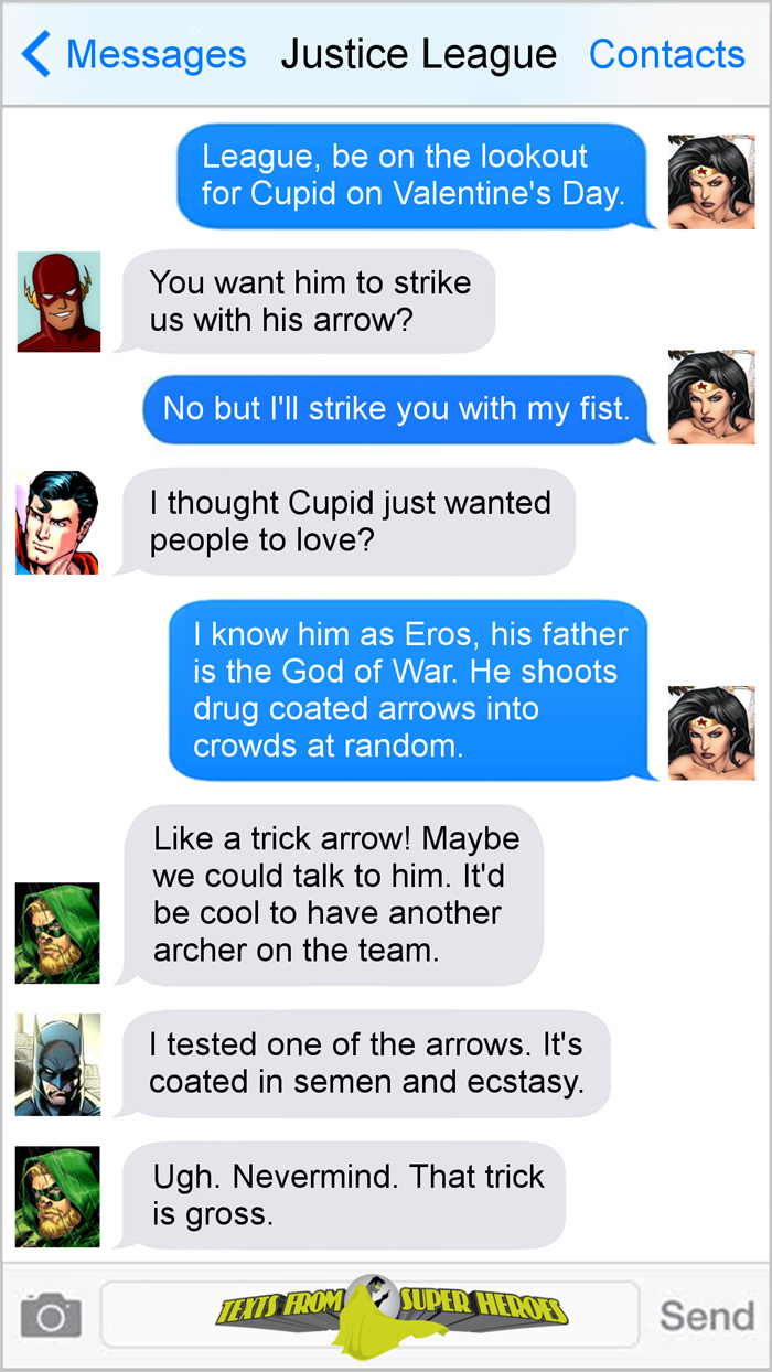 valentines day texts from superheroes - Valentines Day Texts