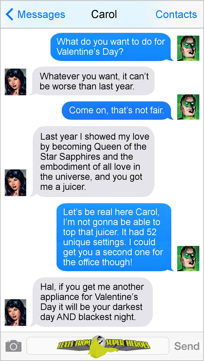 Valentines Day Texts From Superheroes