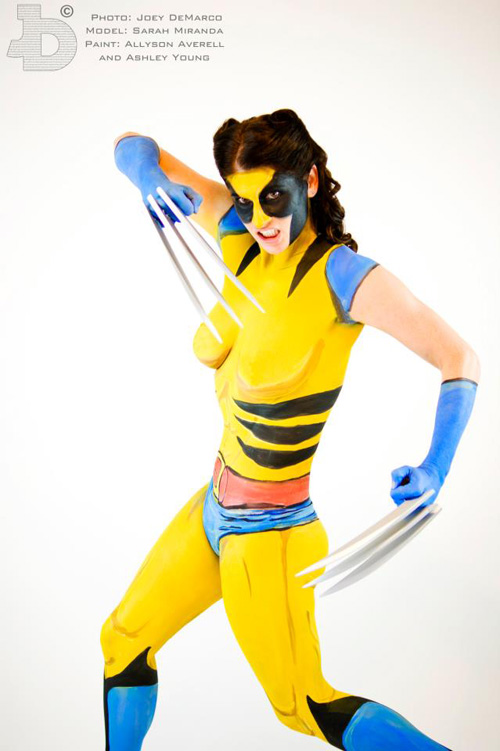 Female Wolverine Body Paint