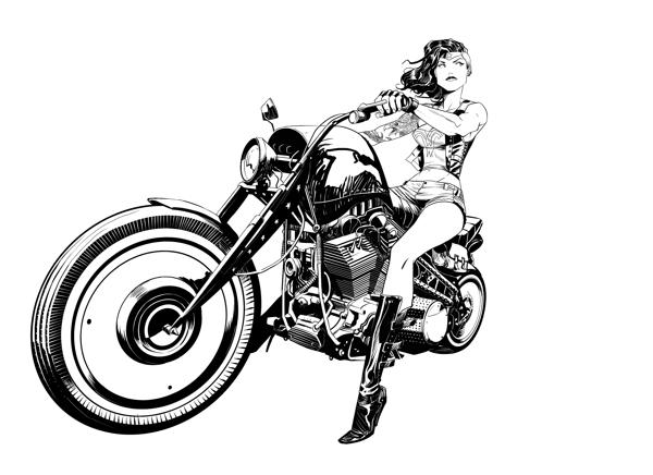 Biker wonder woman fan art for Biker chick tattoos