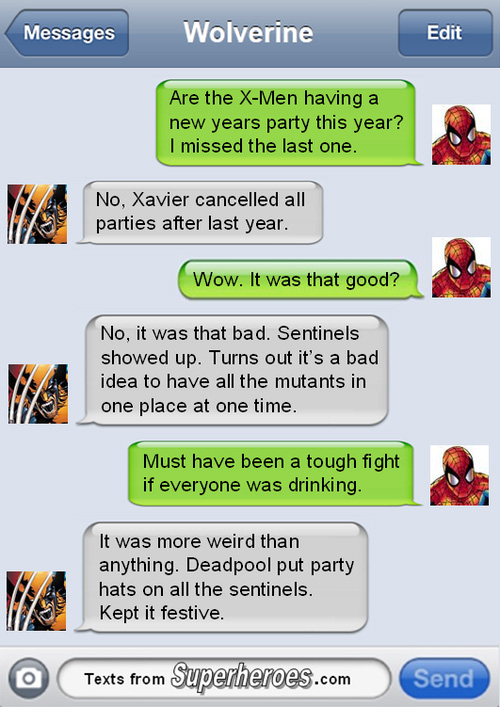 Christmas Texts from Superheroes